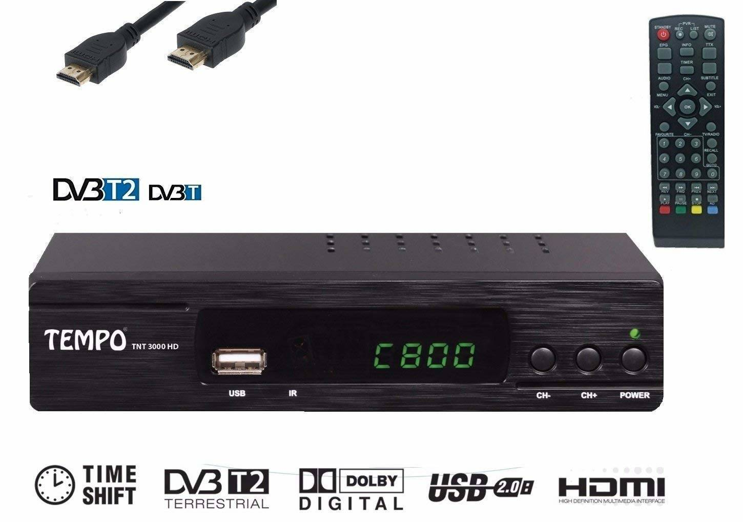Decoder Terrestre TNT HD TV - Tempo 3000 DVB-T2/ MPEG-4/ Port HDMI et Peritel/ Tuner HD